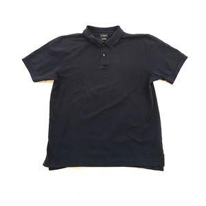 LL Bean Polo Shirt Short Sleeve Navy Blue Mens L